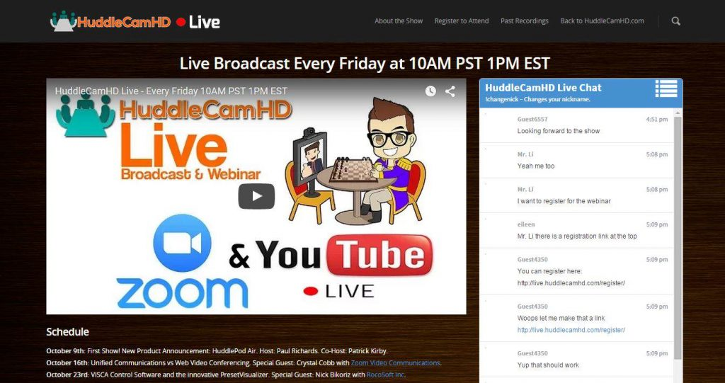 HuddleCam Live Streaming a Video Conference Call